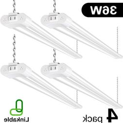 Hykolity 4 Pack 4FT 36W LED Shop Light Linkable Garage Works