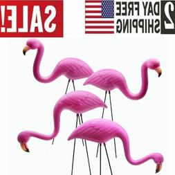 4 Pack Plastic Pink Flamingo Yard Outdoor Lawn Garden Decor