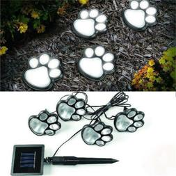 4 solar dog animal paw print Lights garden statue lantern LE