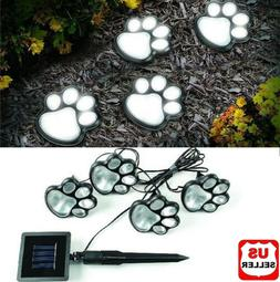 4 Solar Paw Print Lights Dog Path LED Cute Lawn Garden Patio