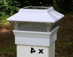 4 White Solar Fence Post Cap Lights - For 4x4 PVC / VINYL Fe