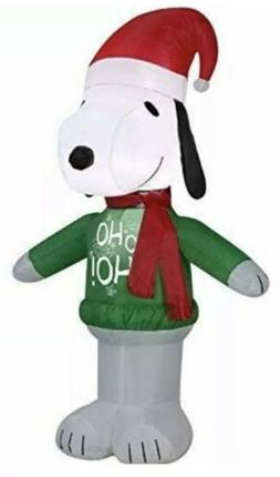 "42"" Christmas Inflatable Peanuts Snoopy in HO HO HO Sweater"