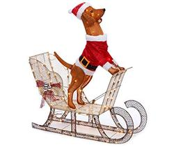 WWL 42 Inch Tall - Light-Up Holiday Dog on Sleigh - Pre-Lit