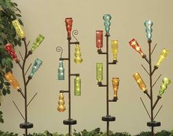 """43"""" Solar Lighted Glass Bottle Tree Flower Design Lawn Decor"""