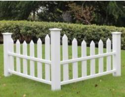 "48"" Corner Picket Fence England Arbors White Vinyl Accent Ya"
