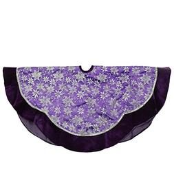 48 Purple and Silver Glittered Floral Christmas Tree Skirt w
