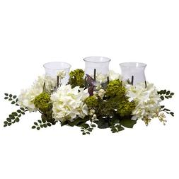 Nearly Natural 4806 Snowball Hydrangea Triple Candelabrum in