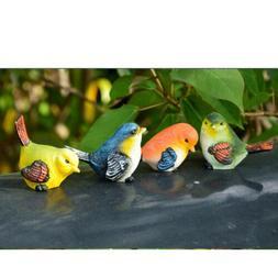 4pcs Artificial Resin Birds Animal Realistic Garden Yard Hom
