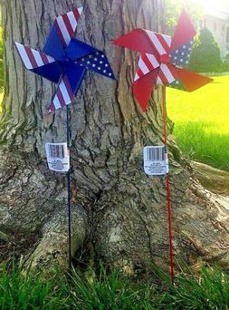4th July Fourth Pinwheel LOT OF 2 Garden Stake Yard Decor Fl