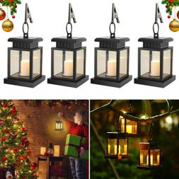 4x Waterproof LED Solar Hanging Light Outdoor Candle Yard Pa