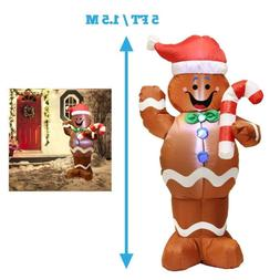 5 Feet Self Inflatable Gingerbread Man with Candy Canes Chri
