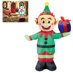 Joiedomi 5 Foot Elf with Present Inflatable LED Light Up Chr