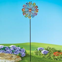 5 Foot Tall Vibrant Double Rainbow Kinetic Wind Spinner Garden Stake