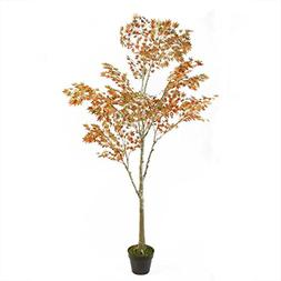 5.5' Potted Fall Harvest Artificial Orange Dream Japanese