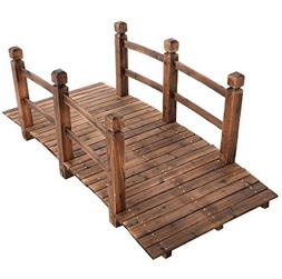 New 5'' Wooden Bridge Stained Finish Solid Wood Garden P