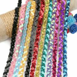 5 Yard Colorful Sequins Lace Fabric Trim Sewing For DIY Wedd