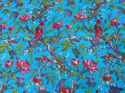5 Yard Ethnic Turquoise Bird Screen Print Indian Cotton Fabr