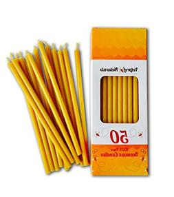 50 Natural Pure Beeswax Decor Taper Candles  Natural Honey S
