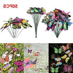 50PCS Butterfly & Dragonfly Stakes Outdoor Yard Garden Flowe