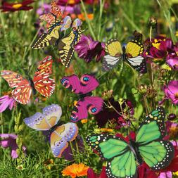 50Pcs Colorful Butterfly Stakes Outdoor Yard Garden Flower P