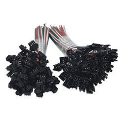 HKBAYI 50Pair / 50sets 3 pin JST SM Male Female plug LED Con