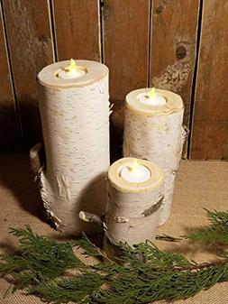 "6"", 8"", 10"", Wedding Birch candle holder, set of 3, wooden c"