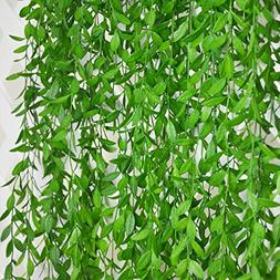 6 Bunches Green Artificial Silk Hanging Vine Plant Willow Le