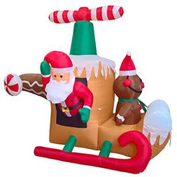 Phoenixreal 6 Foot Christmas Inflatables Helicopter Santa, A