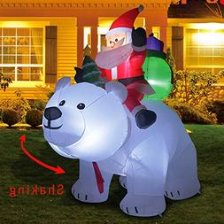 Kemper King 6 Foot Christmas Inflatables Santa on Bear, Airb