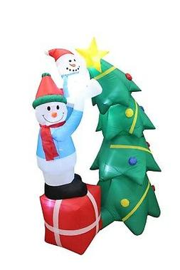 6 Foot Tall Christmas Inflatable Snowman Tree Topper Decorat