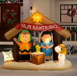 6 Ft PEANUTS NATIVITY SCENE Airblown Yard Inflatable SNOOPY