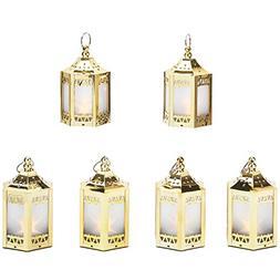 "6 Gold Mini Holographic Star Lanterns, 5"", Warm White LEDs,"