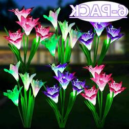 6 Pack Color-Changing LED Solar Powered Flowers Stake Lights