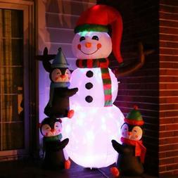 VIVOHOME 6ft Inflatable LED Airblown Snowman & Penguins Chri