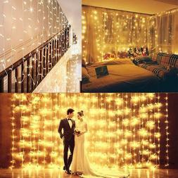 6M 600 LED Window Curtain Icicle String Fairy Lights Wedding