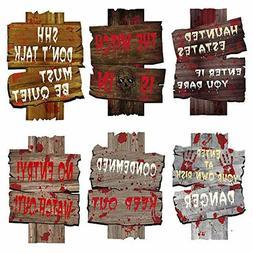 6PCS Halloween Decorations Yard Warning Sign Stakes Beware O