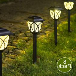 6Pcs Solar Pathway LED Lights Bright Outdoor Garden Landscap
