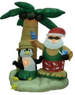 7 Foot Christmas Inflatable Santa Claus and Penguin with Pal