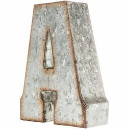 """7"""" Marque Galvanized Vintage Style Metal 3D ABC ALPHABET Let"""