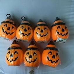 7 Empire Pumpkin Blowmold Tree Toppers Lighted Plastic Hallo