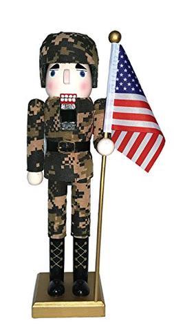 "Santa's Workshop 70623 Army Nutcracker with Flag, 14"", Multi"
