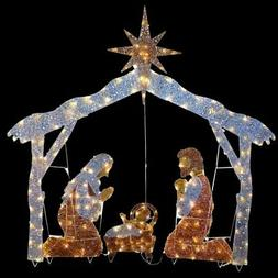 Nativity Scene 72 in with Clear Lights