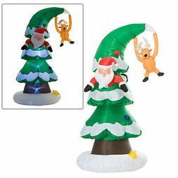 7FT Inflatable Santa Claus Stuck In Christmas Tree Yard Holi