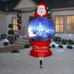 8.5 Ft SANTA ON SNOW GLOBE Airblown Lighted Inflatable PROJE