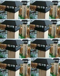 8 Black New Outdoor Garden Solar Panel Post Deck Cap Light