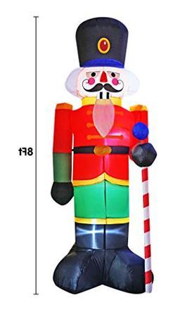 BIGJOYS 8 Ft Inflatable Nutcracker Christmas House Guard Dec