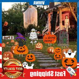 8 Pack Halloween Yard Signs Skeleton and Ghost Corrugate for
