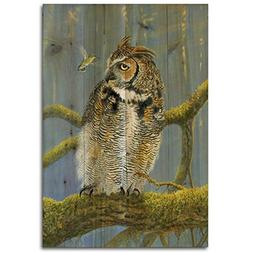 WGI-GALLERY 812 Ferrous Owl and Hummingbird Wooden Wall Art