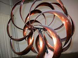 "84"" Curved Flower Blades Metal Wind Sculpture"
