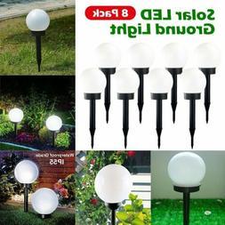 8Pack Solar LED Ground Light Ball Lamp Waterproof Outdoor Ga